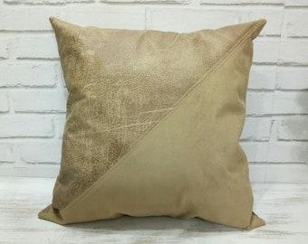 Ready to ship/Caramel brown faux nubuck fabric pillow&insert-diagonal triangle design-nubuck look-suede look 16x16inch(40x40cm)-1pcs