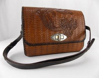 Vintage Embossed Leather Shoulder Bag from Mexico