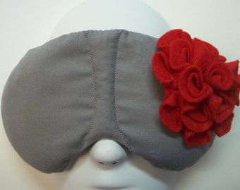 Herbal Hot/Cold Therapy Sleep Mask Gray with Red Felt Flower