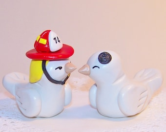 Firefighter Wedding Cake Topper Love Birds Cake Topper- Custom Small - Choice of Colors
