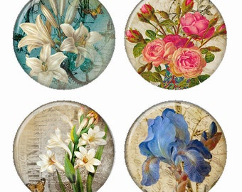 Aged Flowers Magnets or Pinback Buttons or Flatback Medallions Set of 4