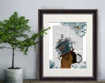 Boxer Dog Print - Milliners Dog Print - Boxer Dog art Whimsical dog art gift for dog lovers Living room décor family room wall art