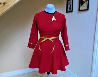 Star Trek Costume, Star Trek Dress, Science and Engineering Officer, Star Trek Cosplay, Female Star Trek Uniforrm