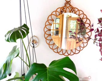 Large mirror rattan wicker vintage mirror mirror
