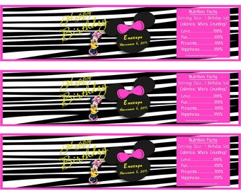 Minnie Mouse/Zebra Water Bottle Wrappers-DIGITAL-chekc out all the matching items in my shop