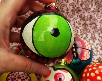 One-Of-A-Kind Painted EYE on a Big Vintage Christmas BALL, Lime Green on Hot Pink, Twine To Hang, by Yael Bolender