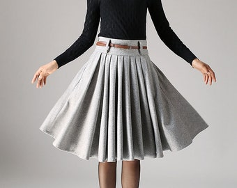 Grey skirt, wool skirt, knee length skirt, winter skirt, midi skirt with pockets, pleated skirt, skirt with pocket, circle skirt 1097