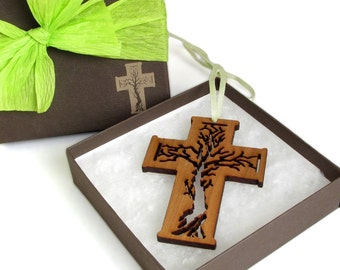 Tree of Life Wood Cross Ornament Gift Box Set