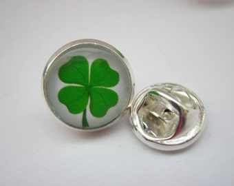 "Irish Lapel Pin Four Leaf Clover Shamrock 14mm (1/2"" inch) Mens Tie Tack Cap Pin, St Patrick's Day Brooch Pin Irish Gifts for Men"