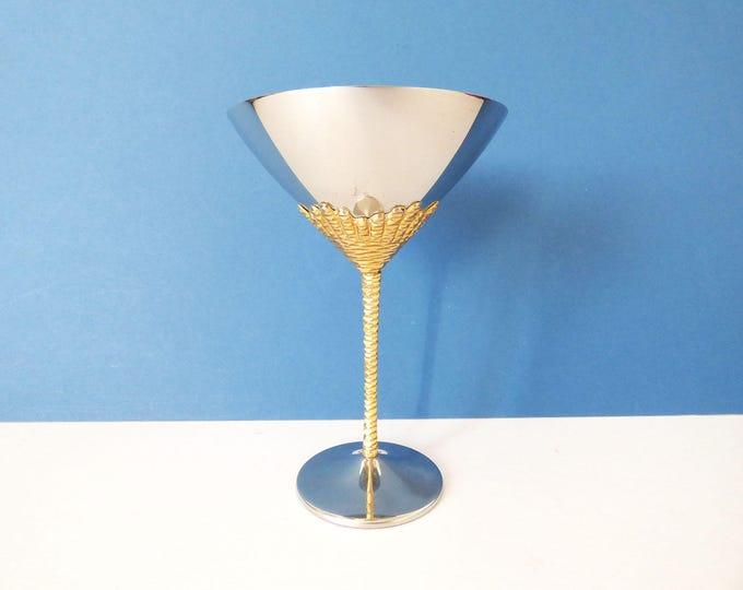 1970's Stuart Devlin cocktail goblet stainless steel gold plated