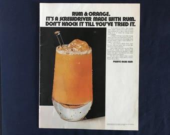 Vintage Puerto Rican Rum Ad, Rum & Orange