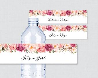 Pink Floral Baby Shower Water Bottle Labels Printable - Rustic Pink Flower Water Bottle Labels It's a Girl/Boy - Instant Download 0059