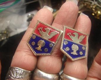 Raven and  Knight Crested Earrings screwbacks. Nickel & Enamel 10 grams, Nickel 1520