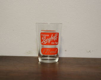"Vintage ""Famous Berghoff on Tap"" glass - Berghoff Beer Glass"