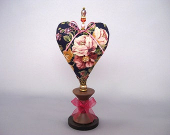 Heart Pincushion with Roses, Navy