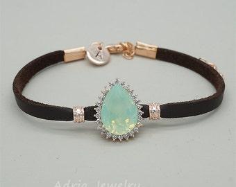 Green Opal Personalized Bracelet, Monogram Bracelet, Leather Bracelet, Initial Letter Jewelry, Personalized Disc Bracelet, Boho Jewelry