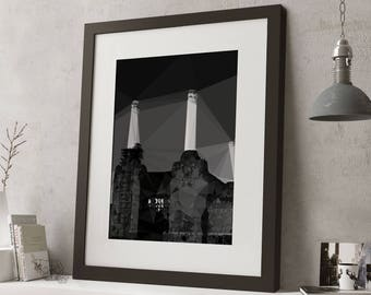 "LARGE 20""x16"" FRAMED Low Poly London Print, Geometric, Black and White Print, Black or White Frame/Mount, Battersea Power Station"
