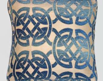 """Blue Celtic Knot Pillow Cover, 17"""" Square Chenille, Cover and Insert, Cut Velvet Irish Cushion Blue and Tan Decor"""