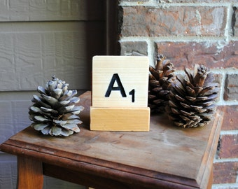 Letter A Carved Wood Oversized Tile Coaster - Hand Painted