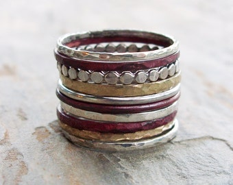 Mixed Metals Stacking Rings Set of Ten in Sterling Silver, Fire Stained Copper, and Brass or 14k Gold Fill