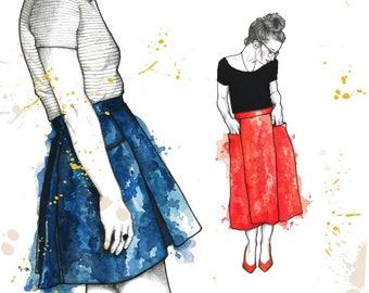 Patti Pocket Skirt PDF sewing pattern for petite women holiday pleated skirt with pockets midi or short length handmade skirt diy fashion