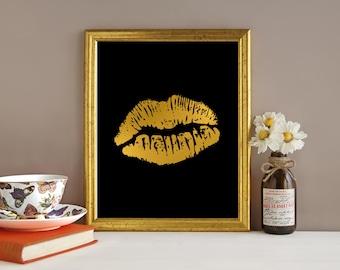 Downloadable Print, Gold lips, kiss print, Modern art, printable wall art, black and gold, Wall decor