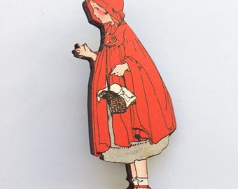 Little Red Riding Hood Carries Basket in her Cloak Wooden brooch pin Birthday Christmas Holiday Gift Childrens Stories