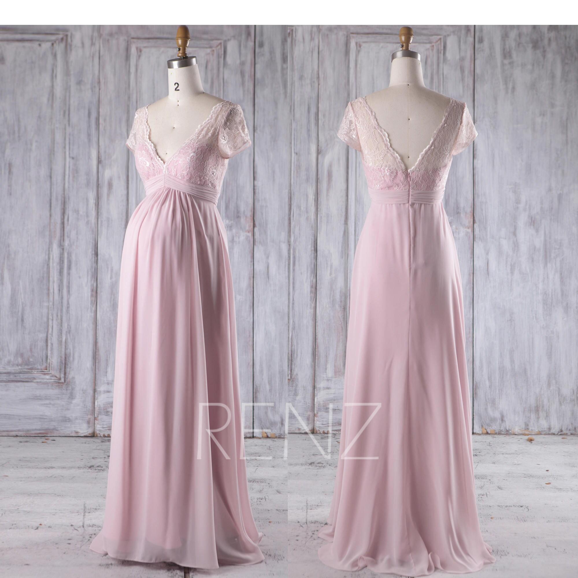 Blush chiffon maternity bridesmaid dress lace v neck wedding zoom ombrellifo Image collections