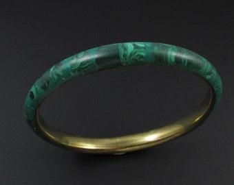 Brass Malachite Bangle, Malachite Bracelet, Green Bracelet, Stone Bangle