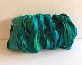 Recycled Silk Sari Ribbon-Shades of Teal Sari Ribbon-10 Yards
