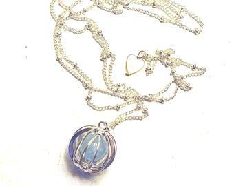 Cage necklace, aquamarine