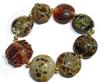 Spring Fling Sale Handmade Glass Lampwork Beads, Earthenware Lentils too