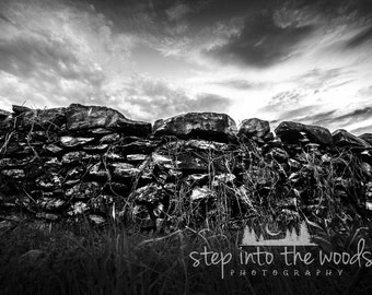 Rock Wall, Black and White; Nature Photography, Black and White, Rock Art, Wall Art, Rural, Historical Print, History Gift, War and Peace