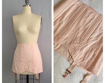 Ballet pink corset | 1940s satin boudoir lingerie | 40s rayon girdle | l