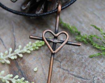 Rustic Copper Heart Cross, Womens Cross Necklace, Cross Necklace, Womens Necklace, Copper Necklace, Christian Jewelry, Religious Jewelry