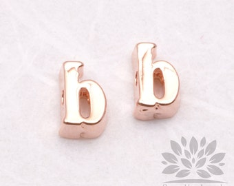 """IP003-GRG-B// Glossy Rose Gold Plated Simple Lower Case Initial """"b"""" Pendant, 2 pcs"""