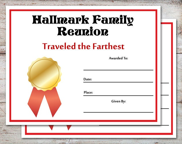 Editable family reunion awards family reunion certificates for Free family reunion certificates templates
