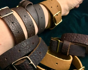 Steampunk Wasteland Leather wrap bracelet /arm garter/ thigh garter / double or triple wrap leather bracelet with buckle