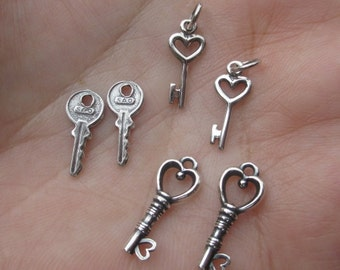Sterling Silver Heart Keys