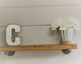 Rustic Farmhouse Shelf, Industrial Pipe Shelf, Any Size, Includes Hardware