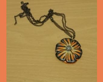 Mixed media art pendant, tiger rose