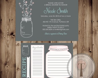 Printable Bridal Shower Invite & Recipe Card/Bridal Shower INVITATION, invitation and recipe card, bridal package, 1043