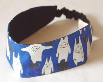 SALE !! Headband, blue, monster