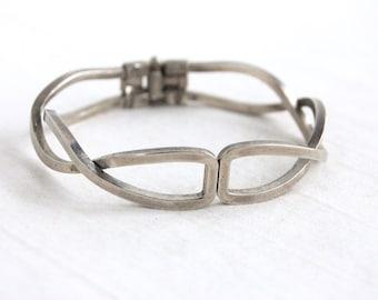 Modern Clamper Bracelet Vintage Alpaca Bangle Size 6 .5 Medium Modernist Jewelry Wide Bangle