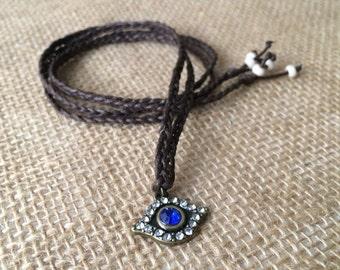 Evil eye head piece, bracelet wrap, necklace, protection jewelry, gypsy halo, bohemian style, festival fashion, good luck charm,yoga jewelry