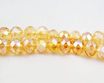 PSW65 - set of 5 beads gemstone yellow gold smoky reflections 10mm X 7mm faceted crystal.