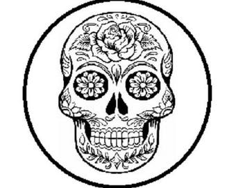 cabochon 20mm skull (black and white)
