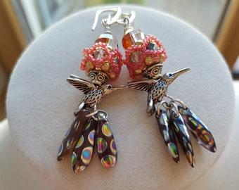 Beaded Earrings, Long Dangle Earrings, Swarovski crystal and Pearl Bird Earrings, Beaded Bead Bird Earrings, Beaded Earrings, Bright Jewelry