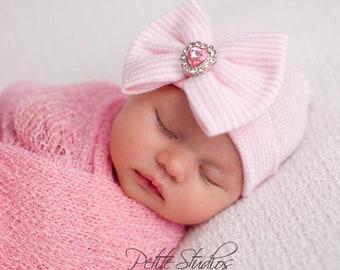 Baby hospital hat, girl hospital hat, newborn girl hat, hospital hat, baby bow hat, baby girl beenie, bow beanie girl, baby girl hat, girl