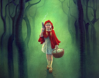 "Art print: ""Little Red Ridinghood gets Even"" - a very scary fairytale girl"